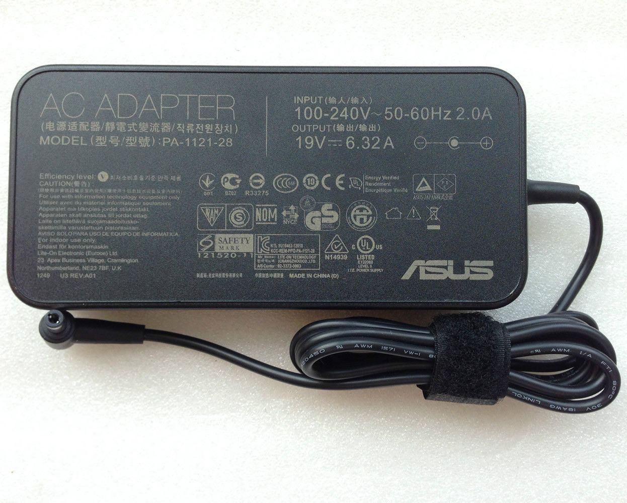 19V 6.32A AC Adapter ASUS G51J A7T N550 Q550 N750 PA-1121-28